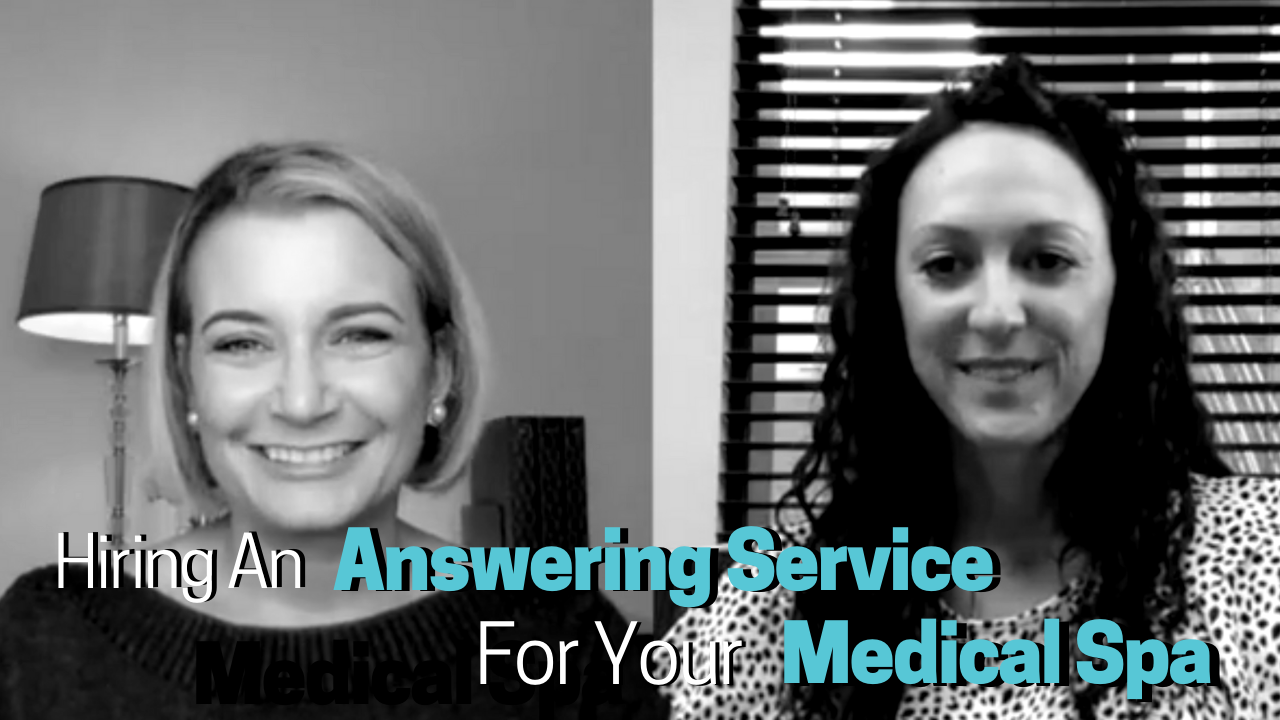 Greyscale image of two women in an interview for Best Med Spa Marketing Agency - Blue text on image reads Live Telephone answering service for your med spa