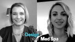 Two Women Grey scale image getting read for an interview on Medical Spa Design white and teal text overlay
