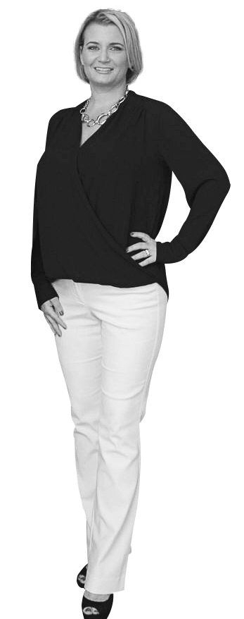Black and white image of a woman smiling with her hand on hip because she is confident about Medical Spa Marketing