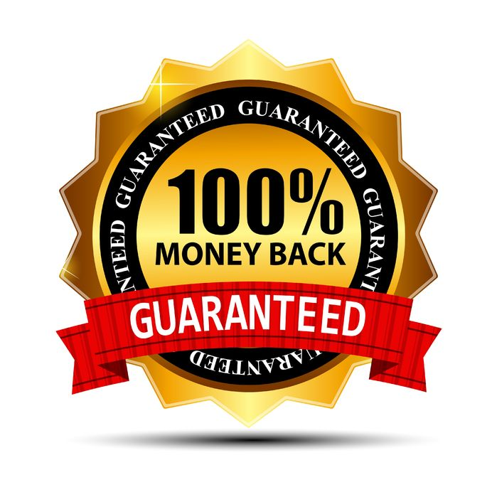 Gold, red, and black 100 % guarantee sign for lead generation blueprint