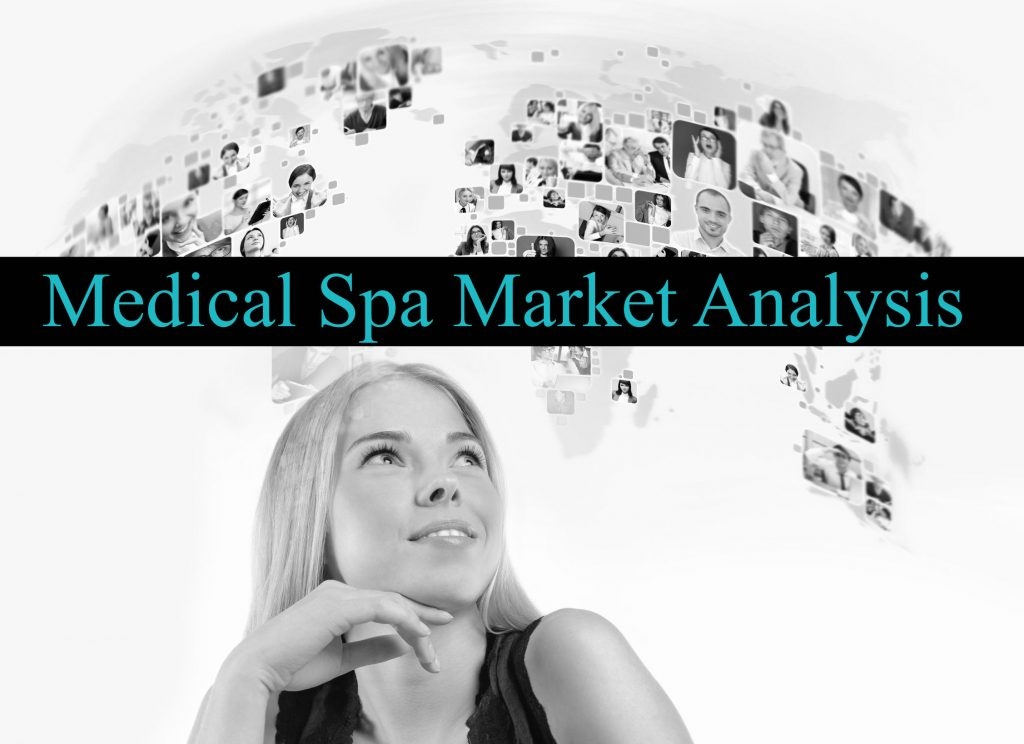 greyscale image of a woman with a black shirt smiling imaging a map and thinking about medical spa market analysis