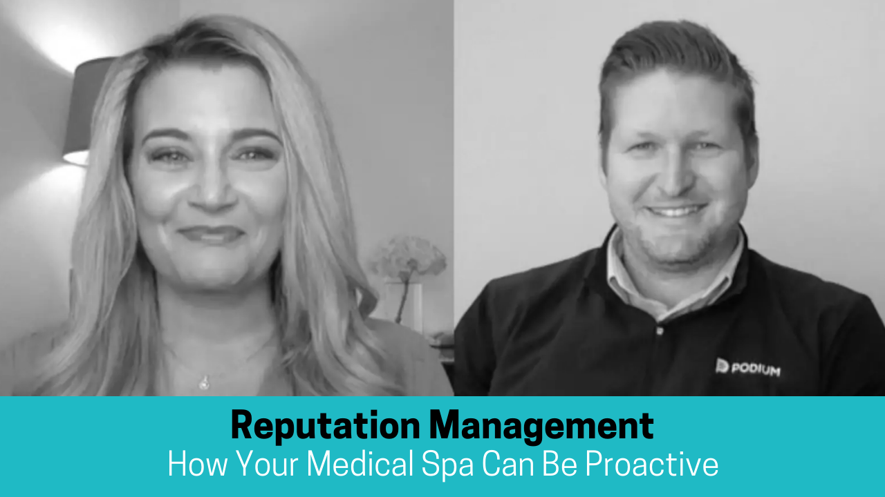 Greyscale image showing a many and a woman smiling text reads Reputation Management. How your medical spa can be proactive