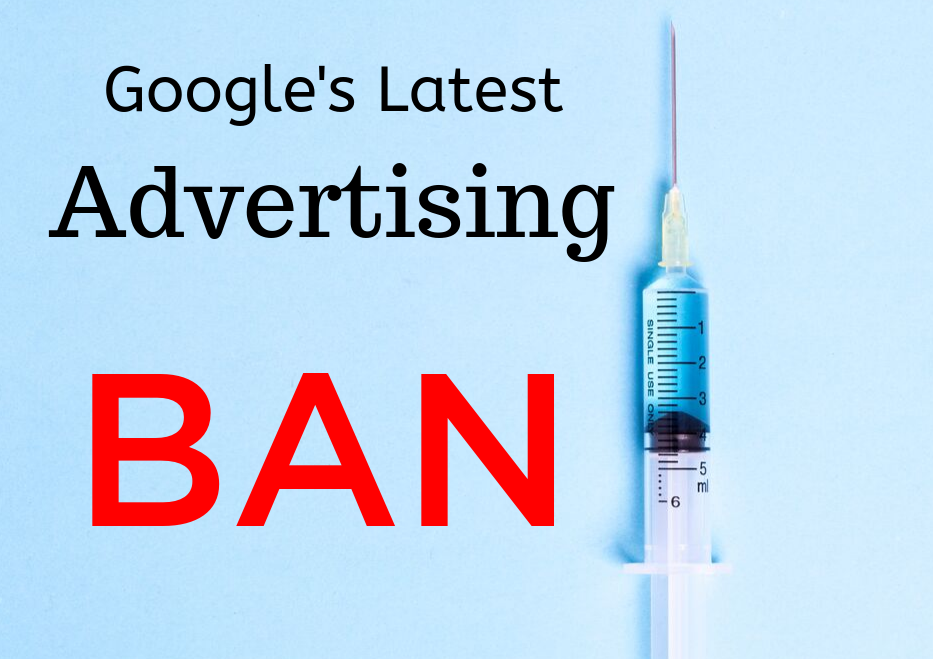 Light blue background with a syringe and words that read: Google Advertising Ban on Stem Cell