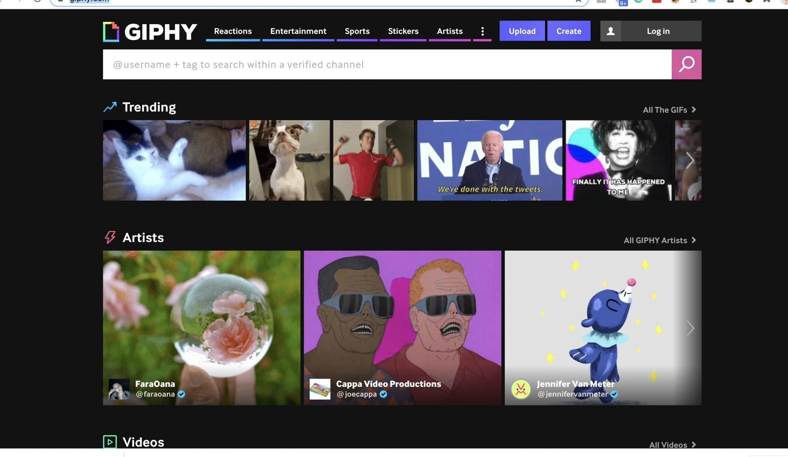Black background screen shot from giphy. com  home page