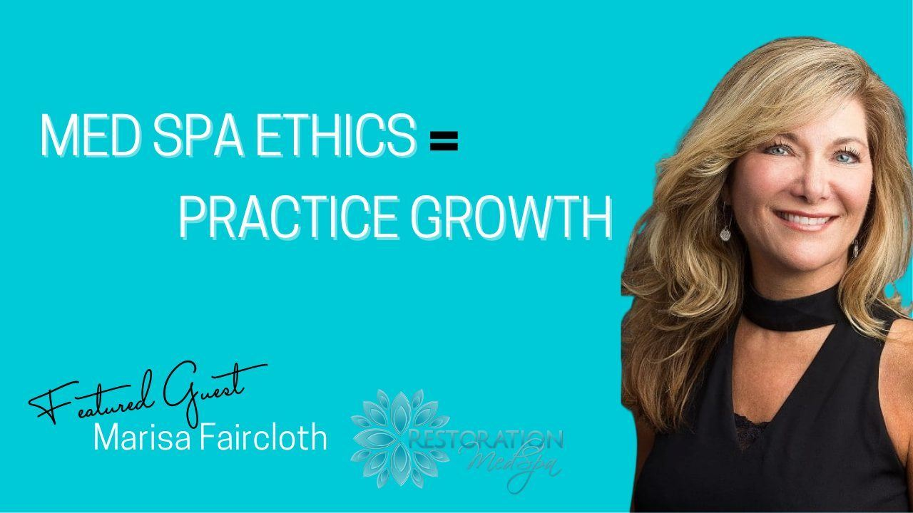 Blue background with white text overlay that say Med Spa Ethics = Practice Growth Woman with blond hair and black shirt getting ready for an interview